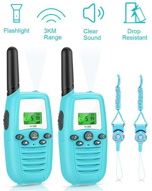 walkie talking Gifort paquete de dos azul con correas para colgar