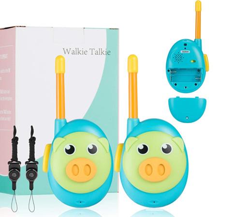 walkie talking niños muy pequeños cerdo azul